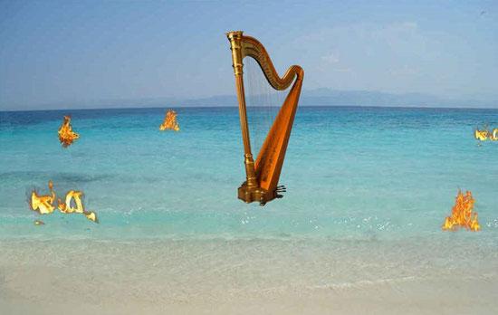 Les 24 anciens dans le livre de l'Apocalypse tiennent une harpe pour glorifier et célébrer Jéhovah et son Fils, Jésus-Christ. Je vis aussi comme une mer de verre mêlée de feu. Ceux qui avaient vaincu la bête, son image et le nombre de son nom étaient là.