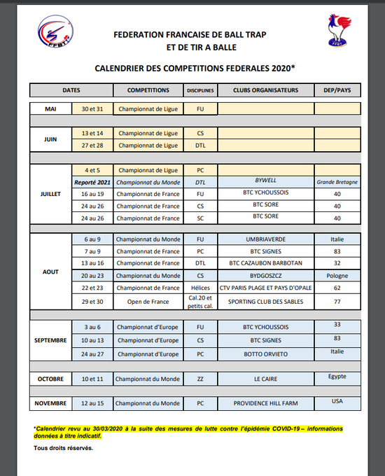 Calendrier Ball Trap 2021 CALENDRIER FFBT 2020   LIGUE BALL TRAP POITOU CHARENTES