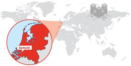 オランダ、南ホラント州ドルトレヒトの地図