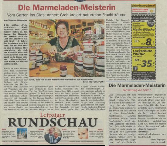 6.8.14 ~ Artikel in der Leipziger Rundschau