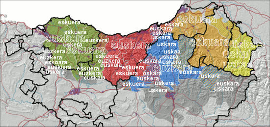 Distribución de los dialectos del euskera. Nombre de su idioma en todos los dialectos.