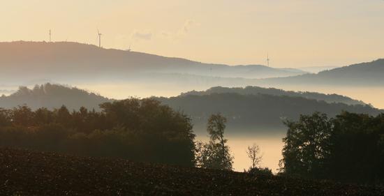 Windenergieanlagen auf Dörenberg und Teut über dem Nebel