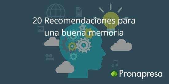 Recomendaciones para una buena memoria