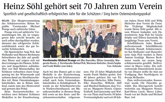 Bericht der Niederelbe-Zeitung vom 26.01.2018