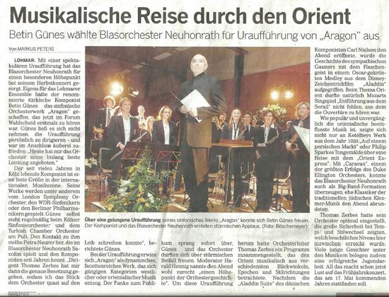 """Uraufführung von """"Aragon"""" in der Rheinischen Rundschau"""