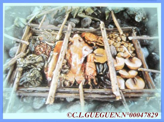 Préparation du Bougna, en fait c'est comme le four tahitien, c'est le même principe!