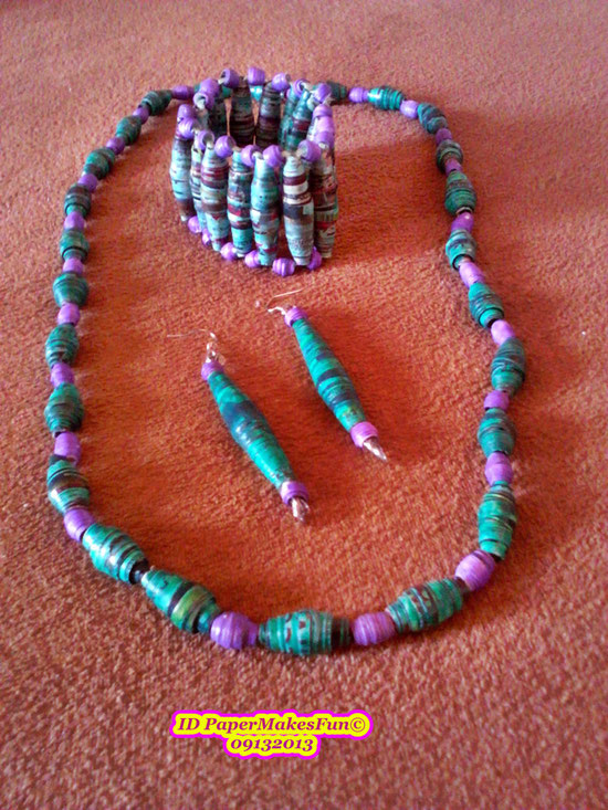 Paper - Beads - Necklace - Bangle - Earrings
