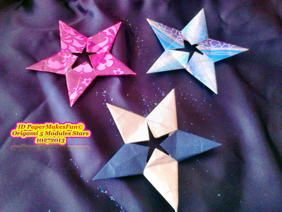 Origami 5 Modules Stars in different colors