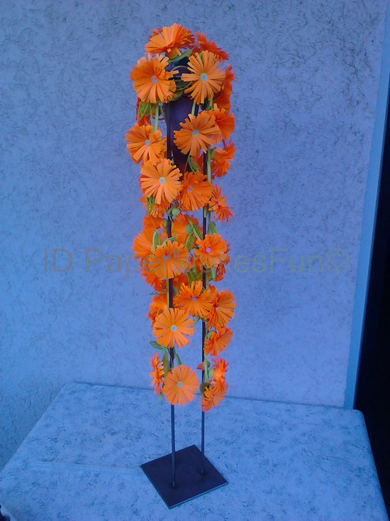 Paper-Quilling orange fringed Flowers on a Metal Frame