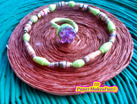 Paper - Beads- Bangle with Ring