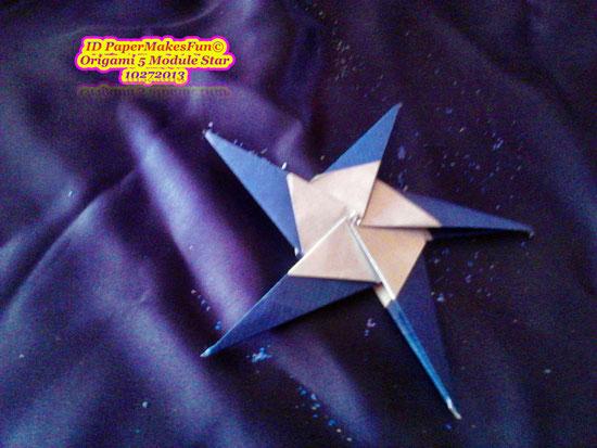 Origami 5 Modules Star in silver blue