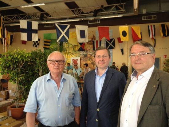 Avec Bernard Gourbin, commissaire du Salon, et Jean-Philippe Deflorenne, organisateur, le 3 Août