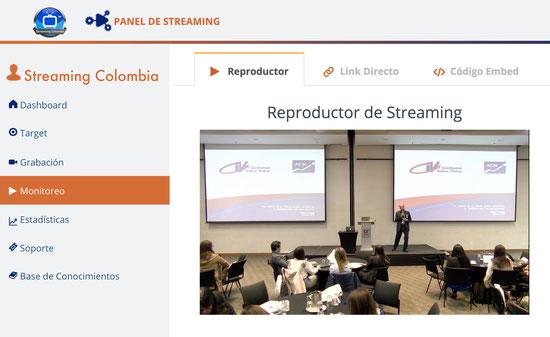 Panel de la plataforma Streaming Colombia con sus diferentes funcionalidades