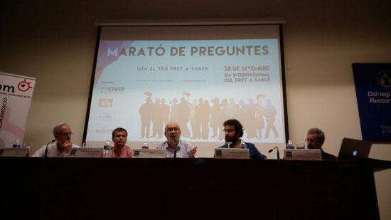 De dreta a esquerra: vocal Consell Transparència, regidor Ajuntament València, conseller, assessor Sindic Greuges, moderador.