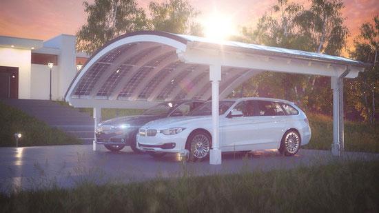 Design Solarcarport mit Bogendach