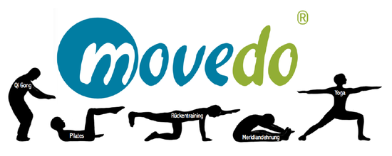 Das movedo Logo. Die Trainingsinhalte Qi Gong, Pilates, Rückentraining, Meridiandehnung und Yoga sind als kleine Bildchen dargestellt.
