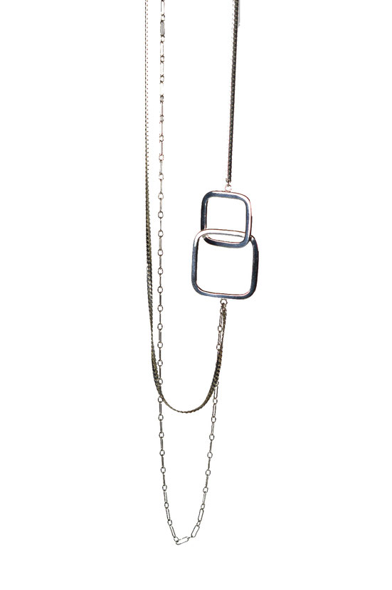 sautoir en argent recyclé / Collection Quadra / Long necklace in recycled silver