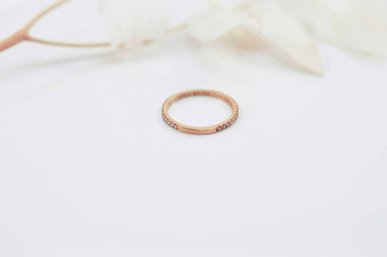 ETERNITY RING OR ROSE 18 CARATS DIAMANTS