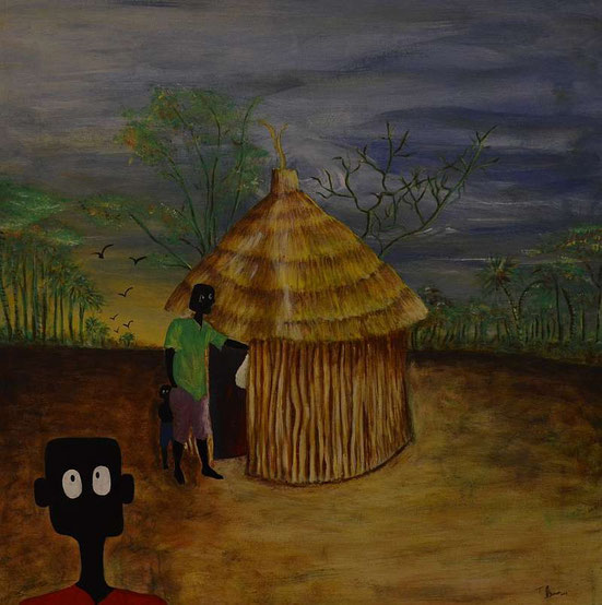 Nala leaving Owamboland, painted by Frans Uunona, Acrylic on Canvas, 70 cm x 70 cm