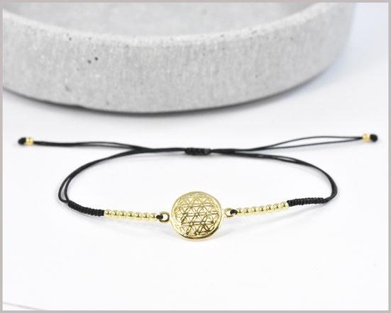 Armband mit Blume des Lebens schwarz / 925 Silber vergoldet