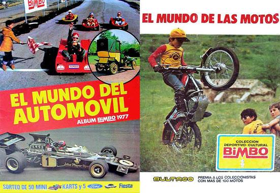 """Impresionante contraportada y portada, álbum """"El mundo de las motos"""" de Bimbo"""