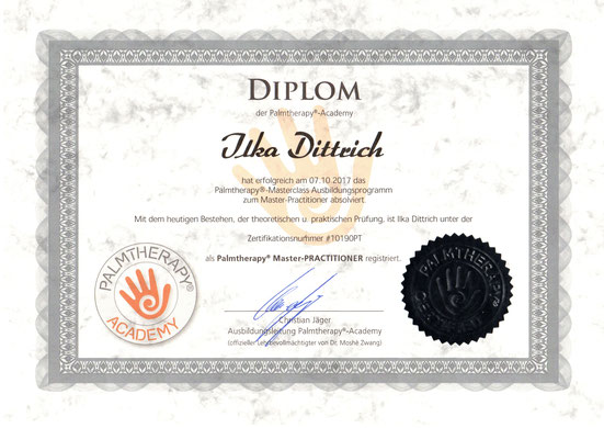 Diplom Palmtherapy Master Practioner