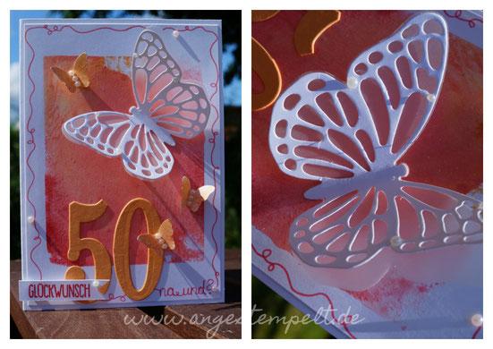 Schmetterlinge zum fünfzigsten Geburtstag, sommerlich frisch - Patricia Stich, SU 2016