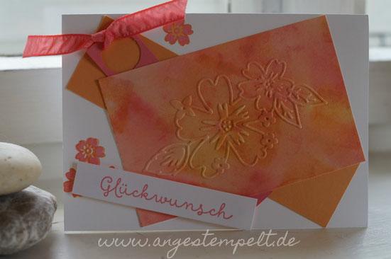 Flamingorot und Pfirsich pur Aquarellhintergrund - Patricia Stich Stampin´Up! 2016
