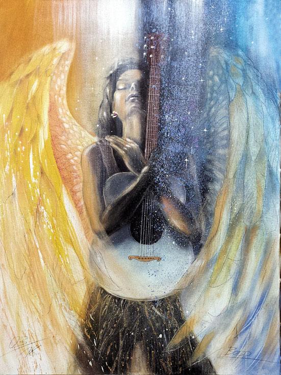 Engelbild, Engel der Muse gemalt von Jopie Bopp #Leinwandbild #Engel