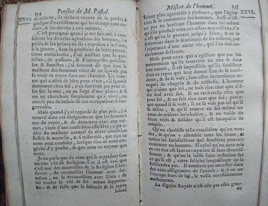 Pascal, Pensées sur la religion, Amsterdam, 1701.