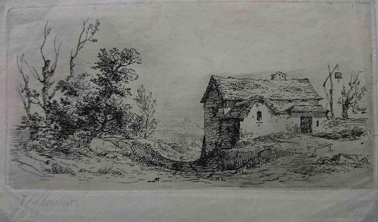 Charmier,  La maison à la potence, 8 x 15,7 cm.
