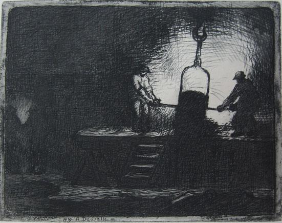 """Angèle Delassale, """"Coin de fonderie"""", eau-forte, 1910."""