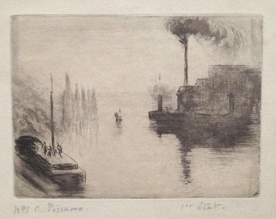 Pissarro, L'Ile Lacroix (Rouen), eau-forte, 2ème état, 11,4 x 15,5