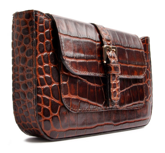 Clutch Trachtentasche Leder braun   . OSTWALD Traditional Craft