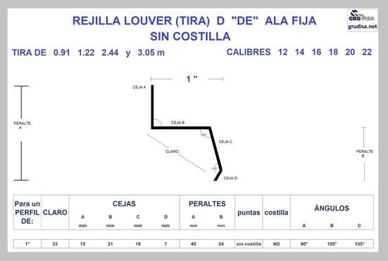 """REJILLA LOUVER (TIRA) """"D"""" PARA PERFIL DE 1"""" GruDisA"""