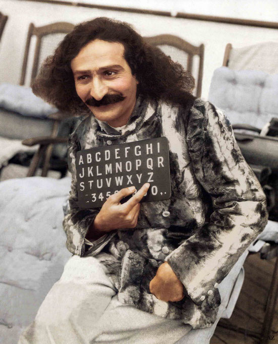 Meher Baba on board the S.S. Bremen on arrival in New York harbour in 1932. Colourized by Cherie Plumlee and courtesy of the Glow International magazine - front cover Fall 2018