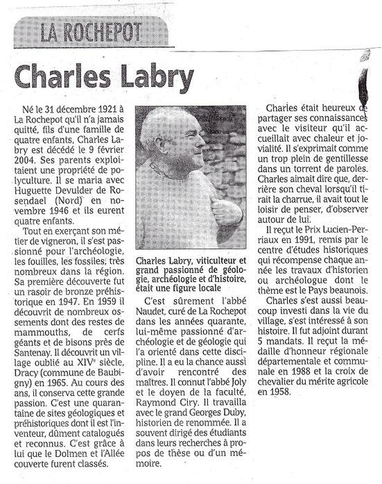 Article La Rochepot /Charles Labry: le bien public février 2004