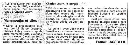 Article Prix Lucien Perriaux - Le Bien Public - 1991