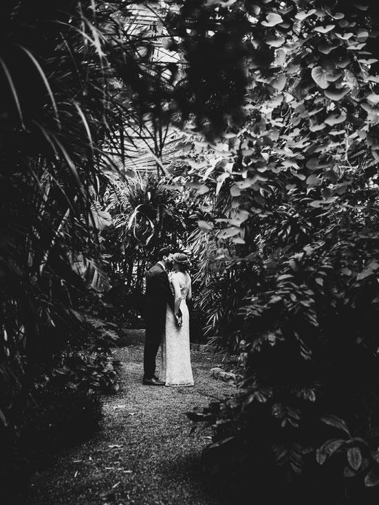 Brautpaar im Palmengarten Dschungel Kuss Hochzeit Liebe Schwarzweiß VintageHochzeit Fotograf Mainz