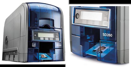 Ausweisdrucker in grau-blau mit Bild eines Firmenausweises