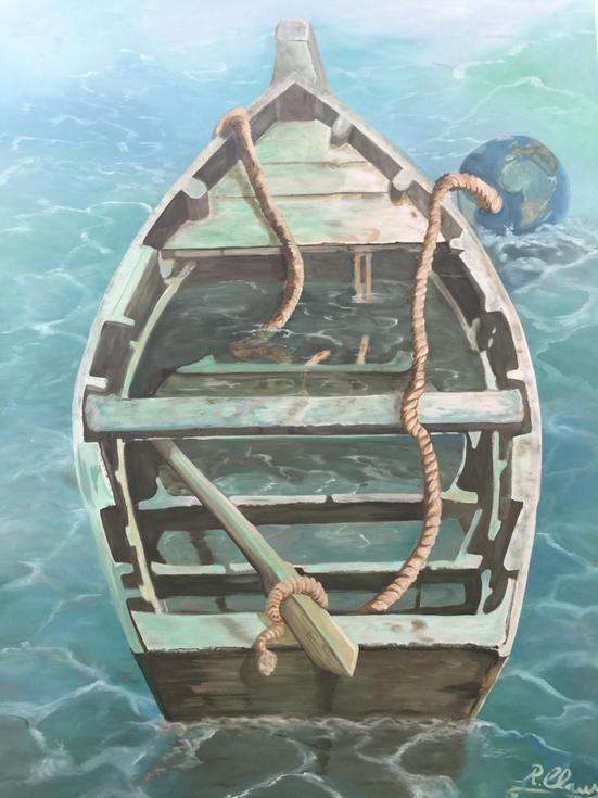 Ölbild das Rettungsboot