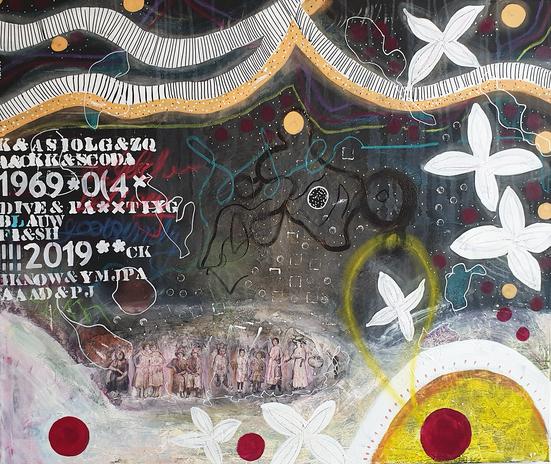 Artigkeit, Claudia Karrasch, Studio, Bonn, Malen, Kunst, Abstrakte Malerei, Acryl, Pastellkreide, Kohle, Ölkreide, Pappe, Strukturpaste, auf Leinwand, 130 X 110 cm
