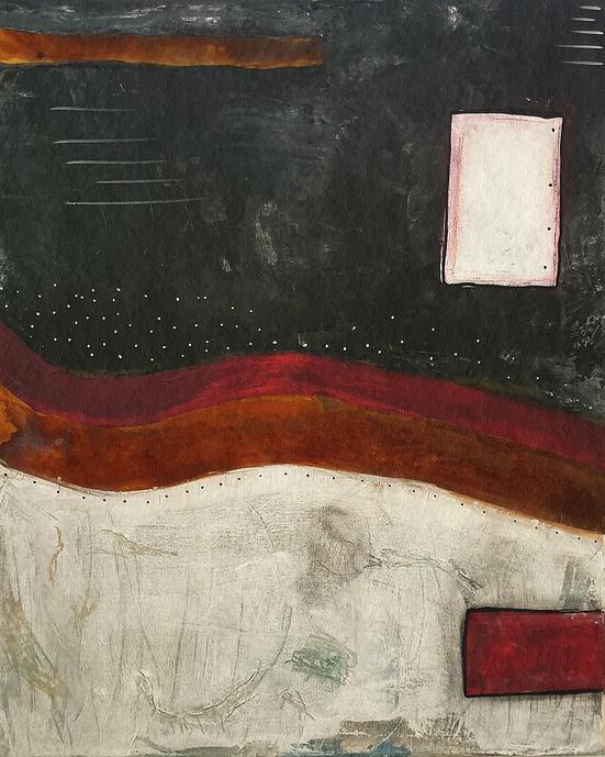 Artigkeit, Claudia Karrasch, Studio, Bonn, Malen, Kunst, Abstrakte Malerei, Rost 2020, Acryl, Acrylmarker, Ölkreide, Rost, auf Leinwand, 50 X 70 cm