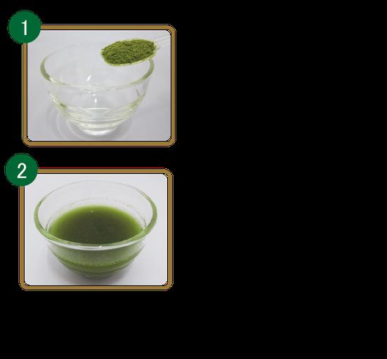 オリブリーフパウダー1gをコップに入れ、お湯や水で溶かし、よくかき混ぜてお召し上がりください。