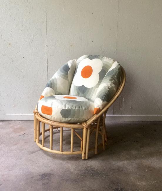 fauteuil rotin vintage, Orla Kiely