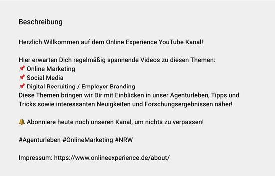 Screenshot: Kanalbeschreibung des YouTube Kanals von Online Experience