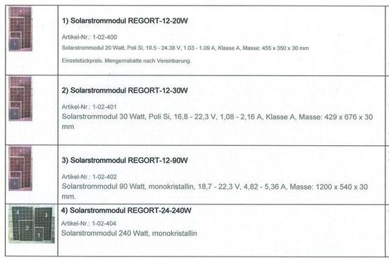 Solarstrom Module von Regort, Solartechnik