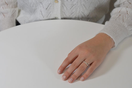 Bague Q02 composée de 3 anneaux carrés en or blanc 18 carats