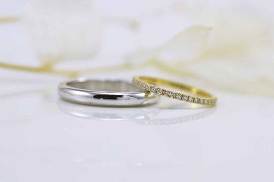alliance or blanc et alliance or jaune et diamants