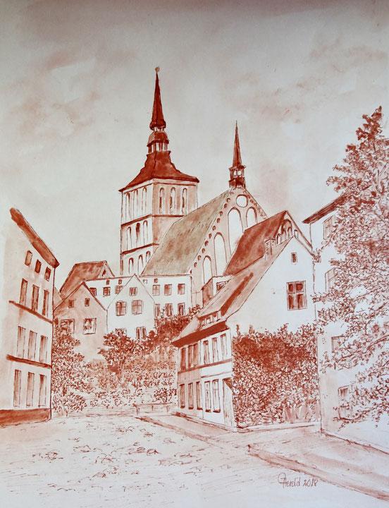 Nikolaikirche Rostock mir historischer Haube vor der Zerstörung im II.Weltkrieg